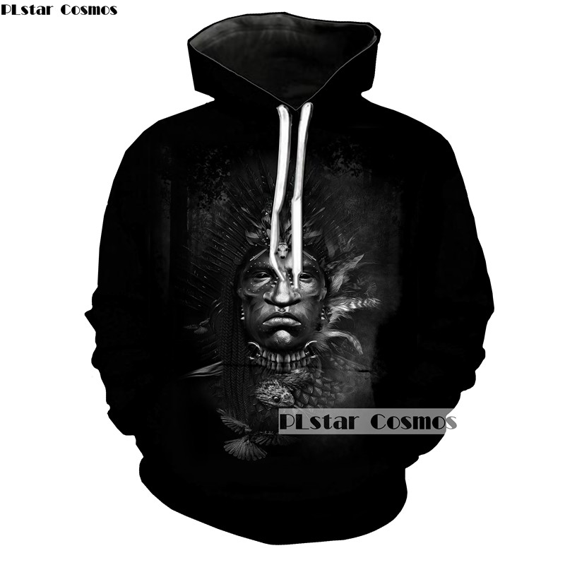 PLstar Cosmos Art Painting American Indian Streetwear Women Men Hoodies Feathered Tribe Soldier Print Sweatshirt Black Pullovers