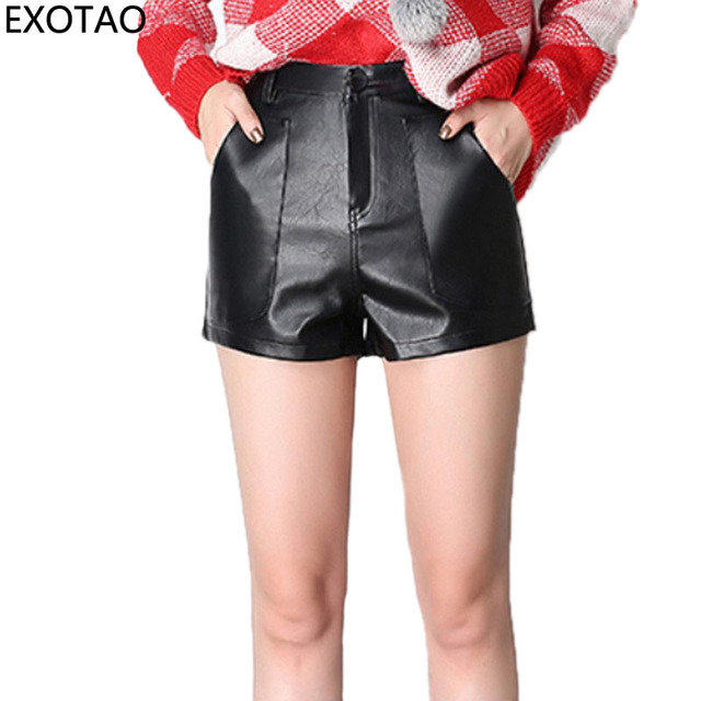 EXOTAO En Cuir Sexy Taille Haute Shorts Femmes Casual Lâche Poches Pantalon  Court Feminino Automne Hiver 0a4c3df7af0