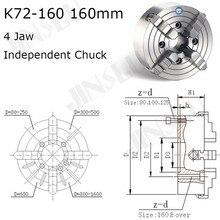 Portabrocas K72-160 4 mandíbula plato de torno de cuatro mordazas independiente Chuck 160 mm Manual para posicionador de soldadura Turn Table 1PK accesorios para torno