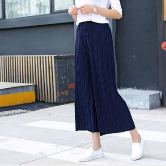Women Chiffon Loose Pants High Waist Ruffled Hem Thin Pleated Trumpet Casual Trousers NYZ Shop 9