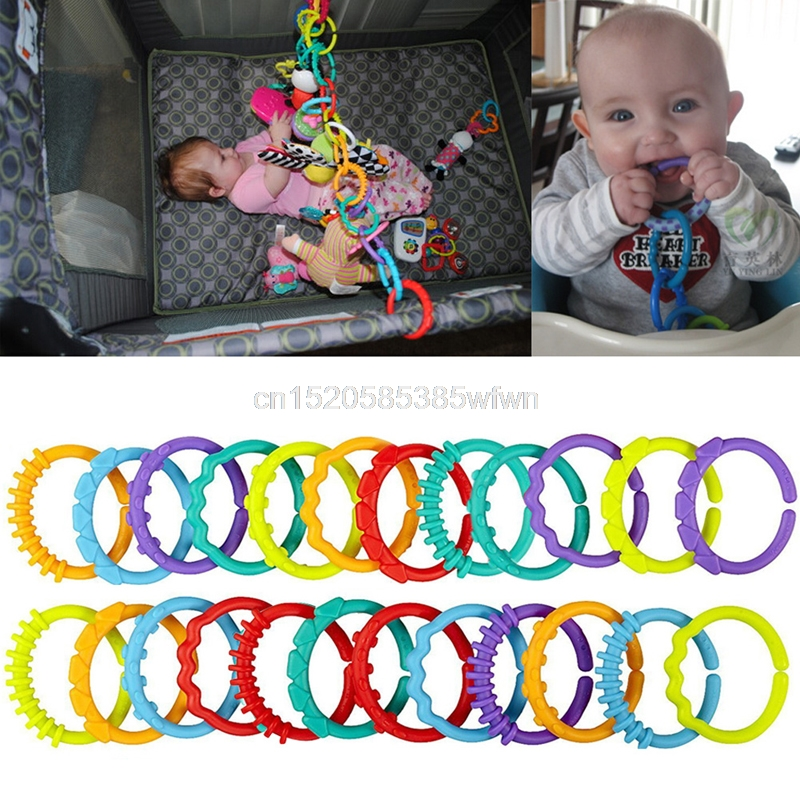 24Pcs Baby Teething Ring Colorful Rainbow Rings Stroller Gift Decoration Toys #HC6U# Drop shipping