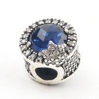 Original Europäischen Königlichen 925 Sterling Silber Herz Katzenauge-stein Moonlight Blauen Kristall Charme pandora Armband