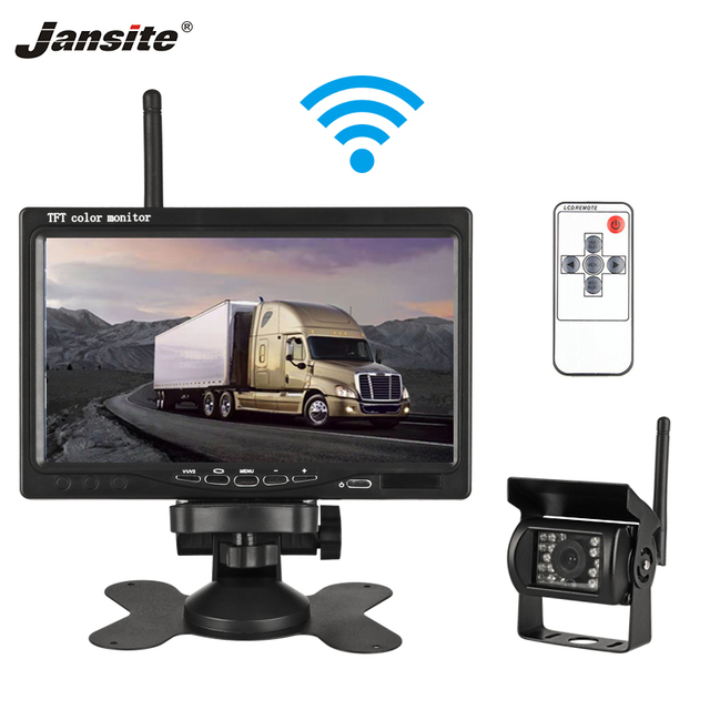 Jansite 7 inch Car Reversing assist system HD Car Monitor Night vision PAL NTSC Wireless Rear view camera Night vision lorry