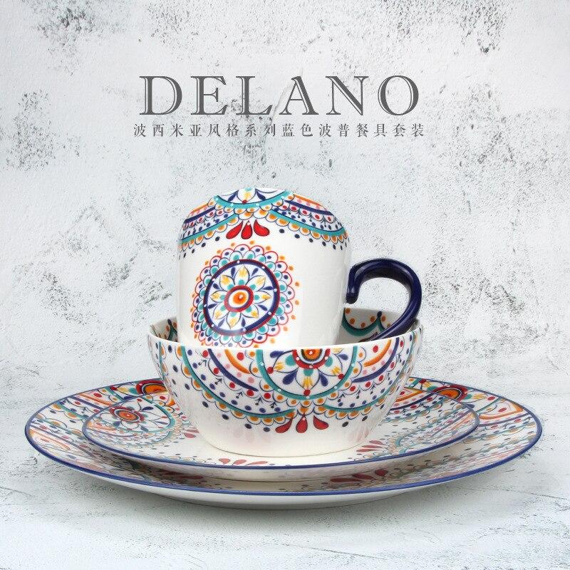 Céramique créative délicate peinte à la main de 11 pouces | Nouveau service de bols d'assiettes en porcelaine, assiette à steak domestique, bol à salade, plat occidental