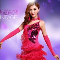 New 2016 Elegant Sexy Unequal Women Girls Sequin Fringe Tassel Skirt Ladies Latin Tango Ballroom Salsa