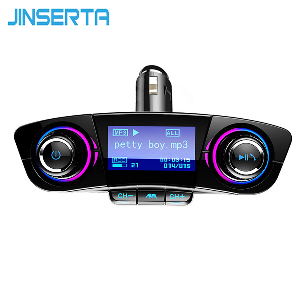 цена на JINSERTA Power ON OFF Bluetooth FM Transmitter Car FM Modulator Handsfree Kit Car TF USB AUX Audio MP3 Player USB Phone Charger