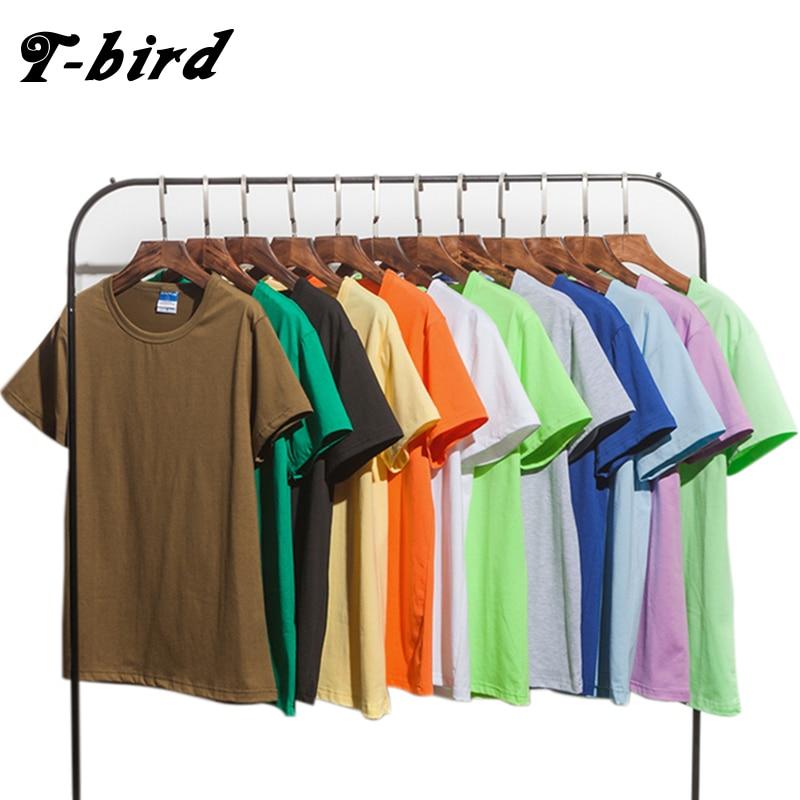 T-bird Solid Color Fashion T Shirt Mens Cotton T-shirts Summer Skateboard Tee Boy Hip Hop Skate Tshirt Tops 13 Color Plus Size