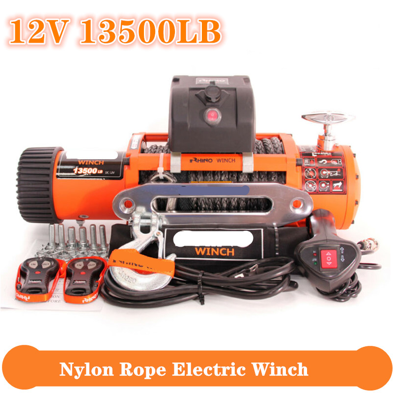 Freeshipping Winch Car 12v 13500lb Electric Winch Heavy Duty ATV Trailer High Tensile Nylon Rope Cable Remote Control Set