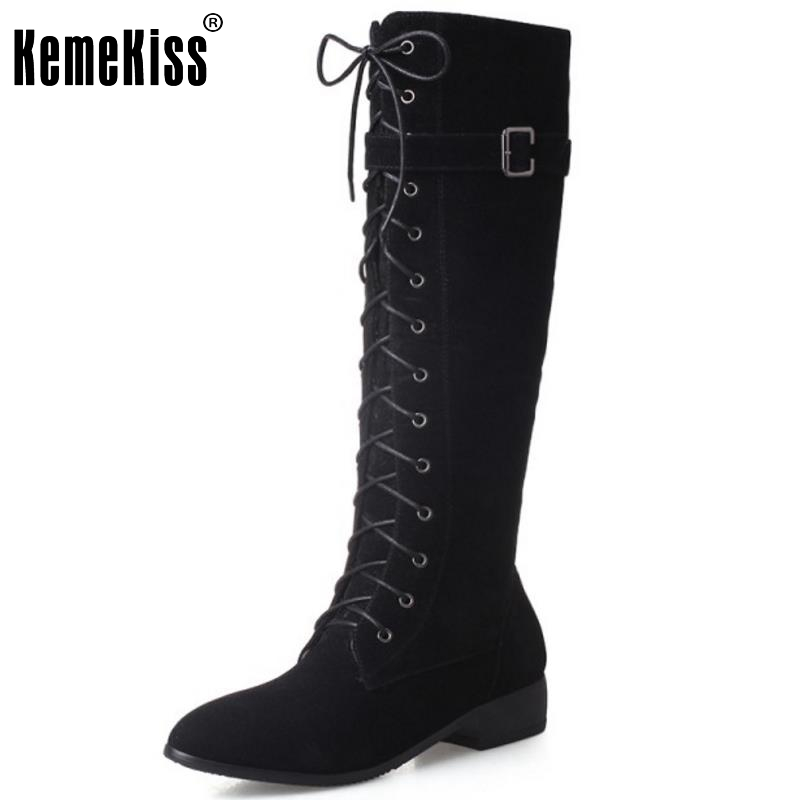 New Fashion Woman Round Toe Flat Knee Boots Women Stylish Lace Up Knight Boot Ladies Suede Leather Shoes Footwear Size 33-43 enmayla winter autumn round toe low heel knee high boots women flats lace up shoes woman rider brown black suede motorcycle boot