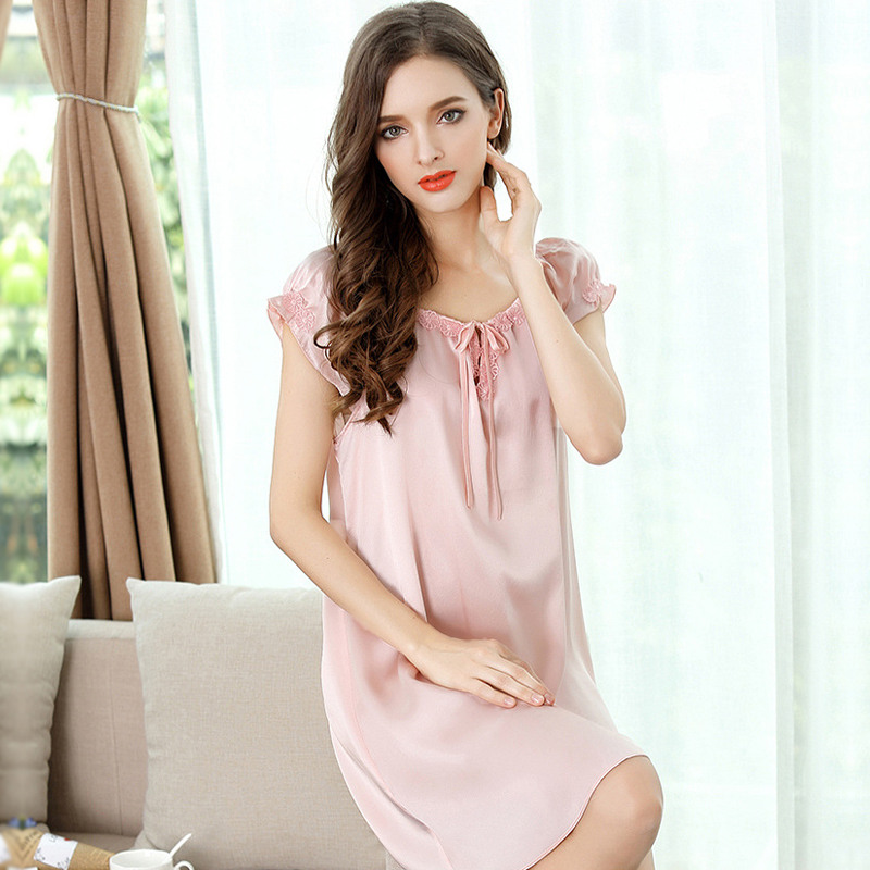 683f51aff7 Summer 100% genuine silk sexy nightgown short sleeves nighty dress women  satin pure silk nightgowns women lingerie dress New