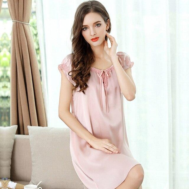 f88a13e4b Verão 100% de seda genuína camisola sexy nighty vestido de mangas curtas mulheres  camisolas das