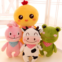 Candice guo! Newest arrival plush toy cute happy farm animal chicken cow bunny frog bear soft stuffed doll birthday gift 1pc