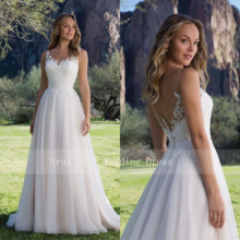 Hot Sale Tulle Wedding Dress A Line Gown with Scoop Lace Neckline Sleeveless Bridal Gowns 2019 V Back