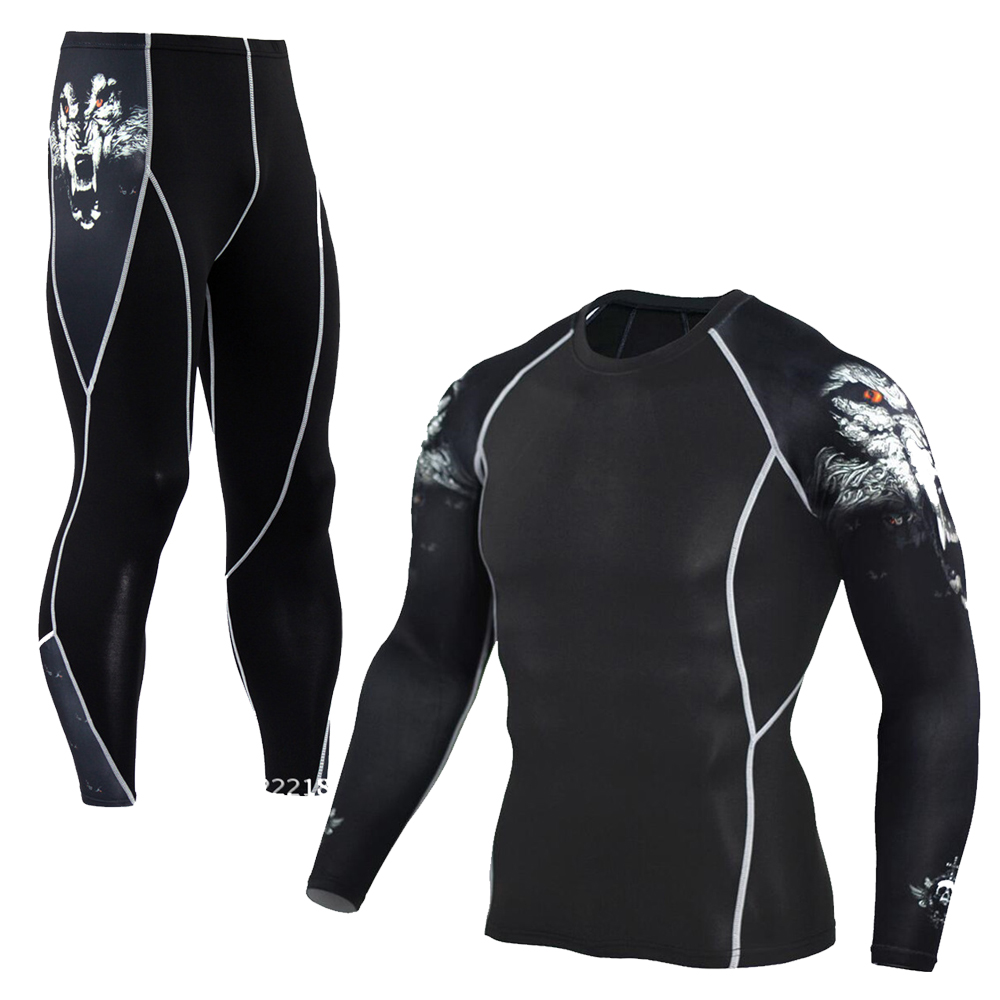Men's Compression Run Jogging Suits Clothes Sports Set Long T Shirt And Pants Gym Fitness Workout Tights Clothing 2pcs/Sets MMA 2