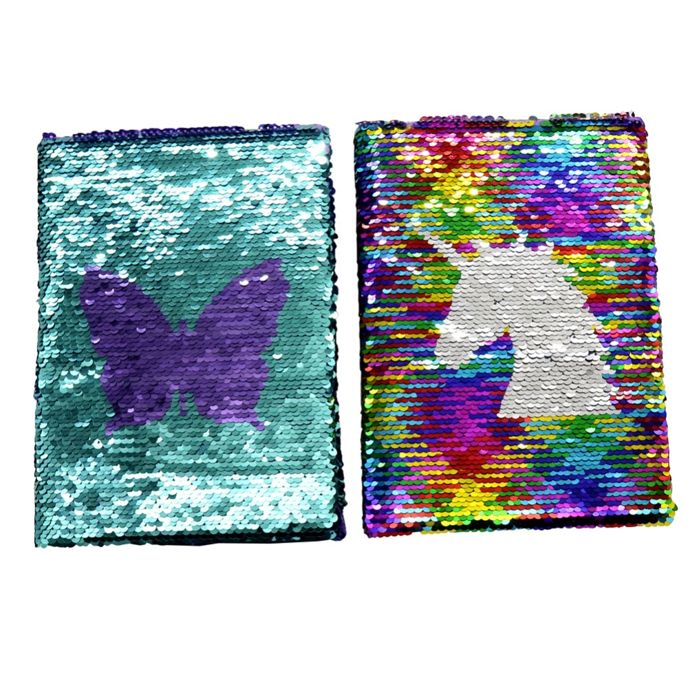 Exquisite Double-sided Sequins Unicorn Or Butterfly Notebook Journal High Quality Hardcover Writing Stationery Student Supplies