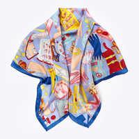 มือรีดขอบกระเป๋าแฟชั่นพิมพ์ 100% ซาตินผ้าพันคอผ้าไหมผ้าคลุมไหล่ Foulard 90*90 เซนติเมตร