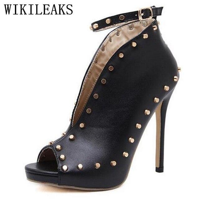 ce4607eb272c39 Frauen schuhe extreme high heels nieten sandalen sapatos mulher scarpin  tacones stiletto damen pumpen frau valentine