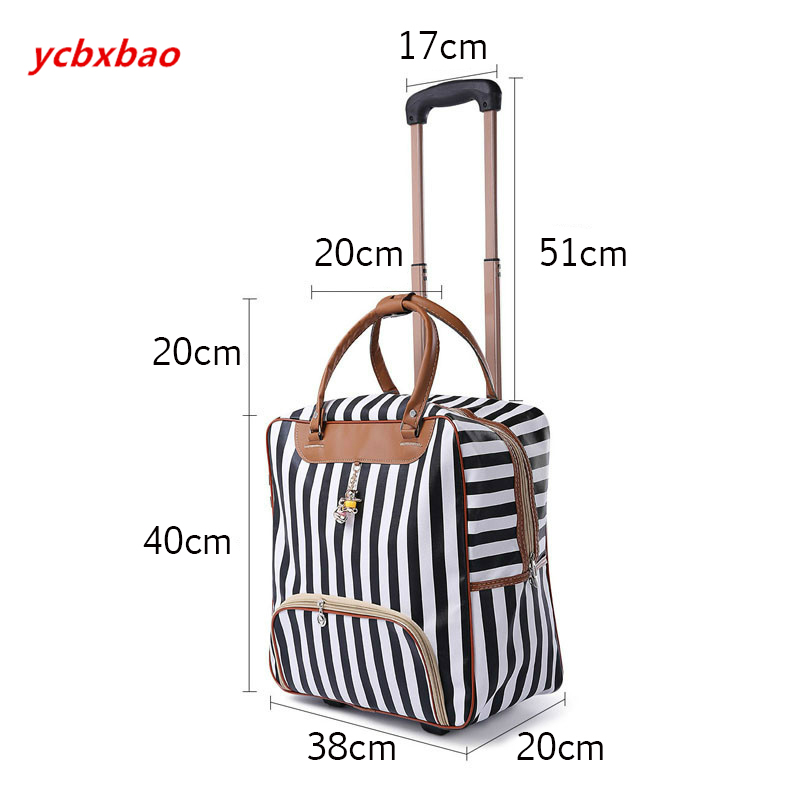 Image 2 - Women Trolley Luggage Rolling Suitcase Casual Stripes Rolling Case Travel Bag on Wheels Luggage Suitcase with Wheels-in Rolling Luggage from Luggage & Bags