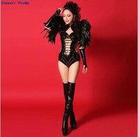 2017Rhinestone Bodysuit Bar Nightclub DS Singer Sexy Costume DJ Performance Costume Dance Dance Big feather dress bodysuit women