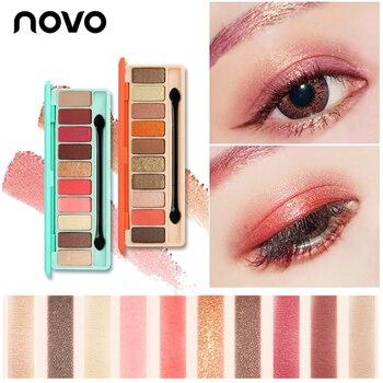 Marca Novo 10 Cores Shimmer da Paleta Da Sombra de Olho com Pincel Matte Eyeshadow Cosméticos Tonto Não fácil de Cor Olhos Nus maquiagem