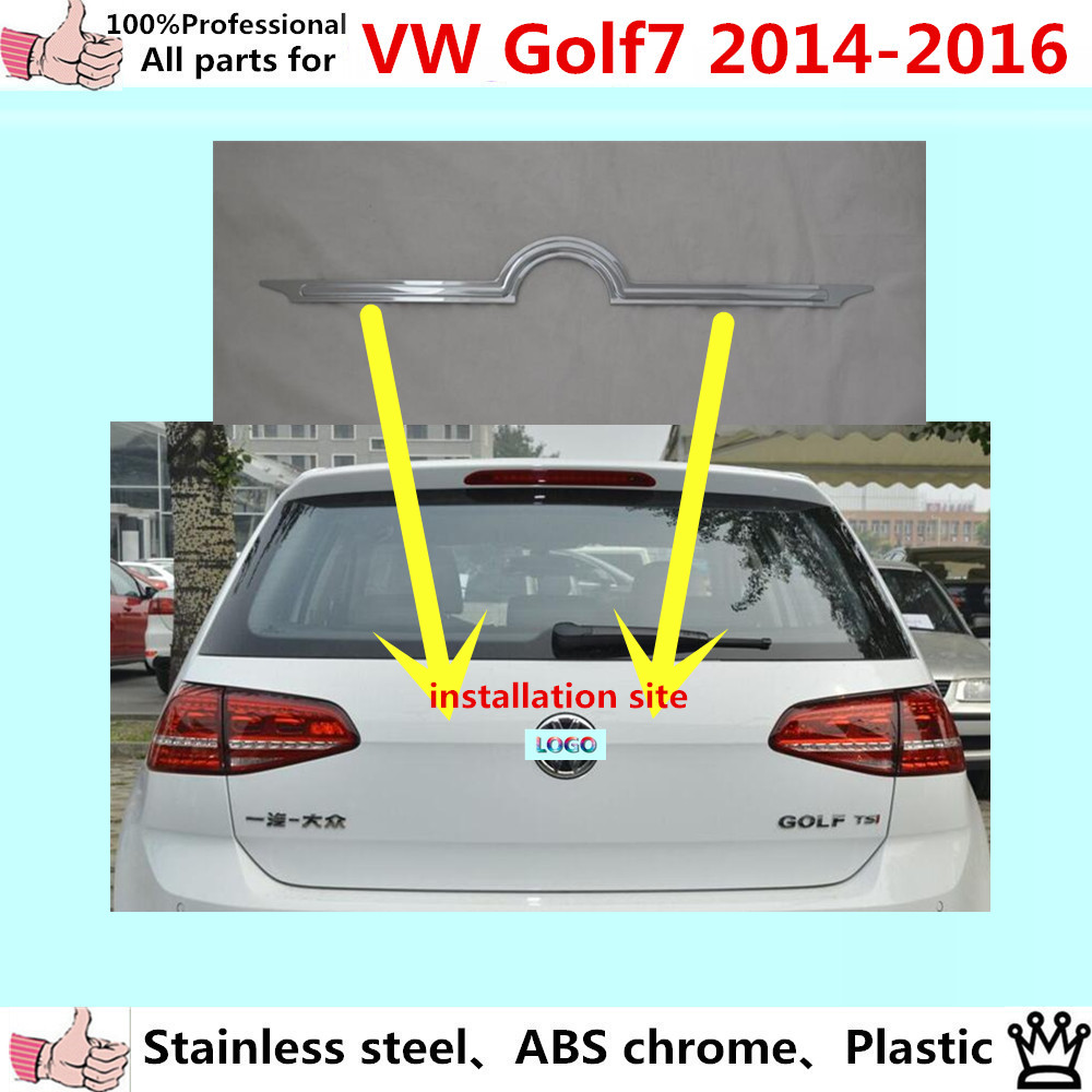For Volkswagen Golf7 Golf 7 2014 2015 2016 car body stainless steel Rear door tailgate bumper frame plate trim lamp trunk 1pcs car rear trunk security shield cargo cover for volkswagen vw tiguan 2016 2017 2018 high qualit black beige auto accessories