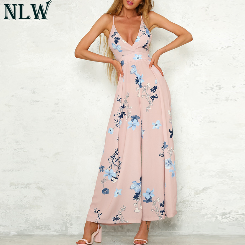 NLW Pink Floral Summer   Jumpsuits   Elegant Women   Jumpsuit   2018 Chiffon High Waist Overalls Backless Romper Beach Sexy Bodysuit