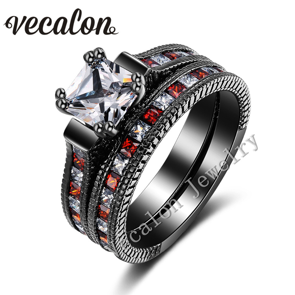 vecalon antique wedding band ring set for women red red aaaaa zircon cz 14kt black gold filled female engagement ring - Cheap Vintage Wedding Rings