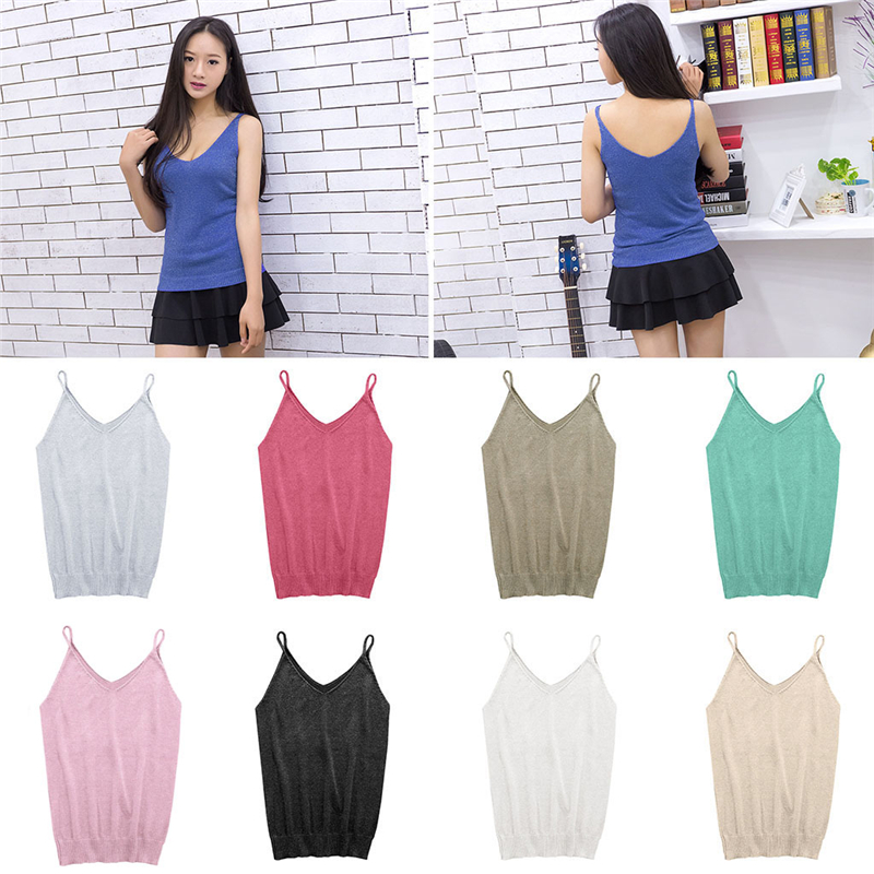 Glittering Knitted Women Camisole Vest Stretchable V Neck Slim Sexy Strappy   Tank     Tops