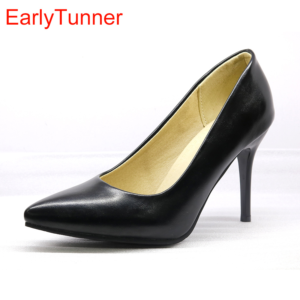 Hot Sale Brand New Fashion Beige Brown Women Formal Pumps Black High Stiletto Heels Lady Nude Shoes EH38 Plus Big Size  48 30 10