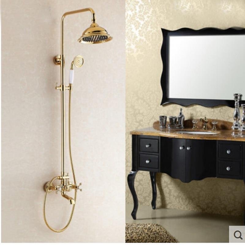 ea0ddb6348e5 Montado en la pared de oro latón Baño de lluvia ducha bañera manija de  cristal grifo