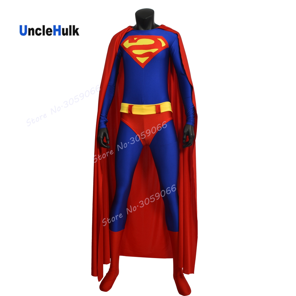High Quality Superman Costume Printed Spandex Lycra Cosplay Costume - reverse S -SH0318 | UncleHulk
