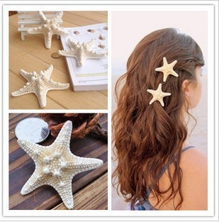 1PC Handmade The Diy Hairpins Natural Real Starfish Side Folder Top Clip Duckbill Clip Hair Accessories Headdress Stay Sea Aw