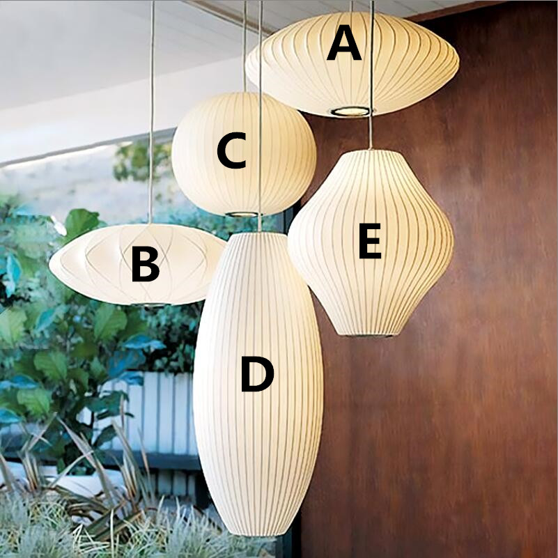 George Nelson Bubble Saucer Lamp White Silk Cloth Pendant Light Dining Room Clothing Shop Cloth Restaurant Pendant Hanging Lamp