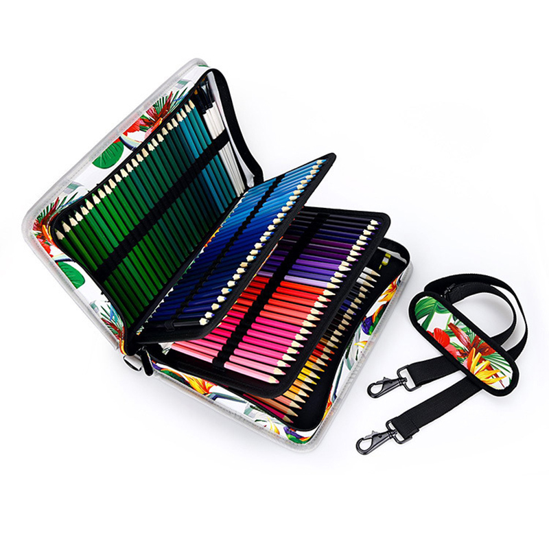 160 Holes 4 layer Adult Kid Portable Canvas Drawing Pencils Case Pouch Pencil Bag Large Capacity Art Painting Pen Holder Gift in Pencil Bags from Office School Supplies