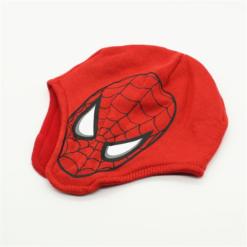 Limited sales Cartoon Character Spidermen Kids Winter Skullies Beanies Children Hero Knitted wool hat with ear flap Crochet cap the new children s cubs hat qiu dong with cartoon animals knitting wool cap and pile