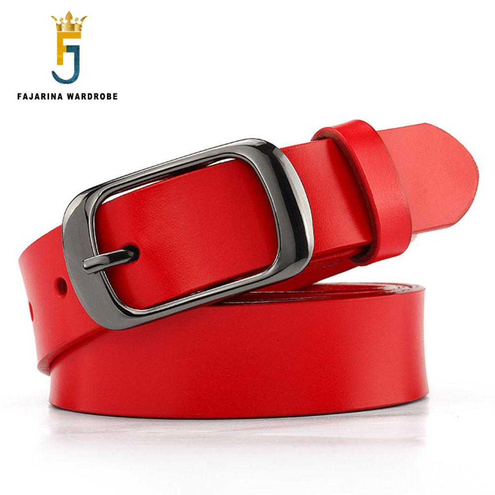 FAJARINA Quality Pure Cowhide Ladies Cow Skin Leather Female Red Belt Fashion Retro Clasp Belts For Women Extended 135cm LDFJ010