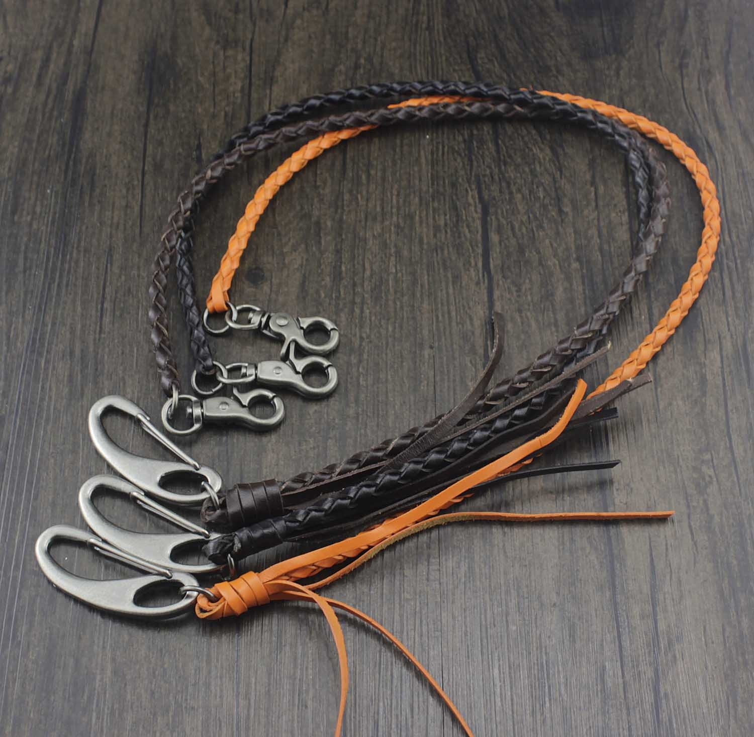 New Braided Leather Wallet Chain with Leather Clasp Clip Biker Rock
