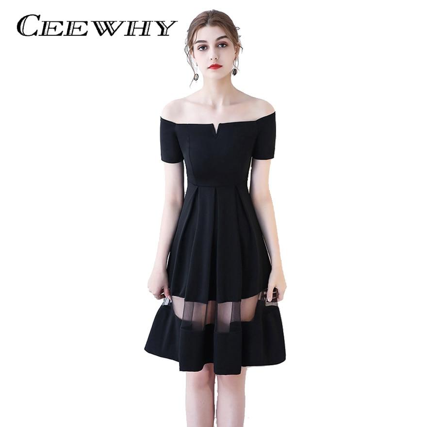 Boat Neck Illusion Little Black Dress Short Sleeve Knee Length ...