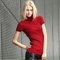 Краткая Коротким Рукавом Пуловеры Женщин 2017 Новый Дизайнер Европейский Водолазка 14 Конфеты Цветов Сексуальные Трикотаж Трикотажные Свитера