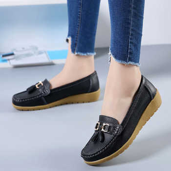 2019 Fashion Women Genuine Leather Flat Casual Shoes ladies solid sneakers shoes round toe sewing women Flats casual shoes