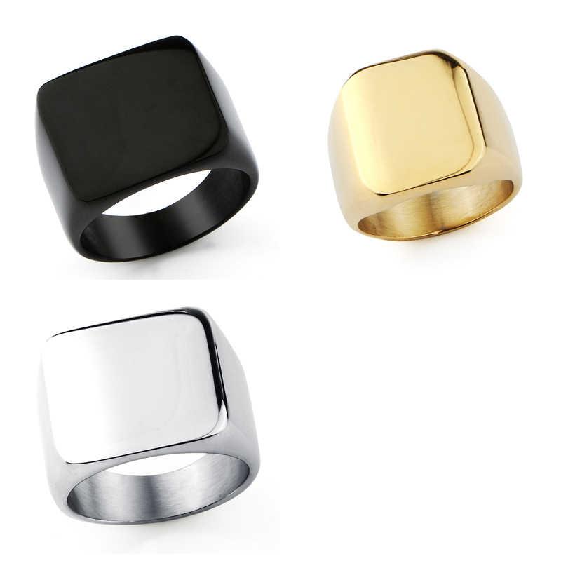 Jiayiqi 316L титан сталь пустой простой для мужчин кольцо мода простой панк личности ювелирные изделия гладкой поверхности для друга подарок