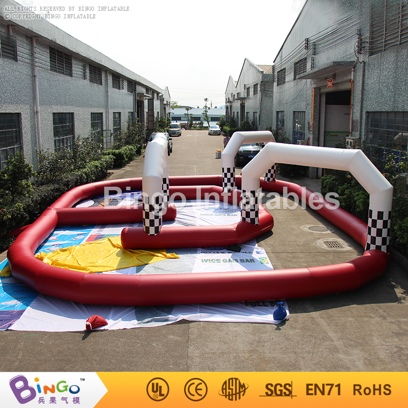 Free shipping Toys Outdoor 11M PVC material Inflatable go karts barriers race track for children kids play outdoor sports games go kart race air track for balls inflatable race track