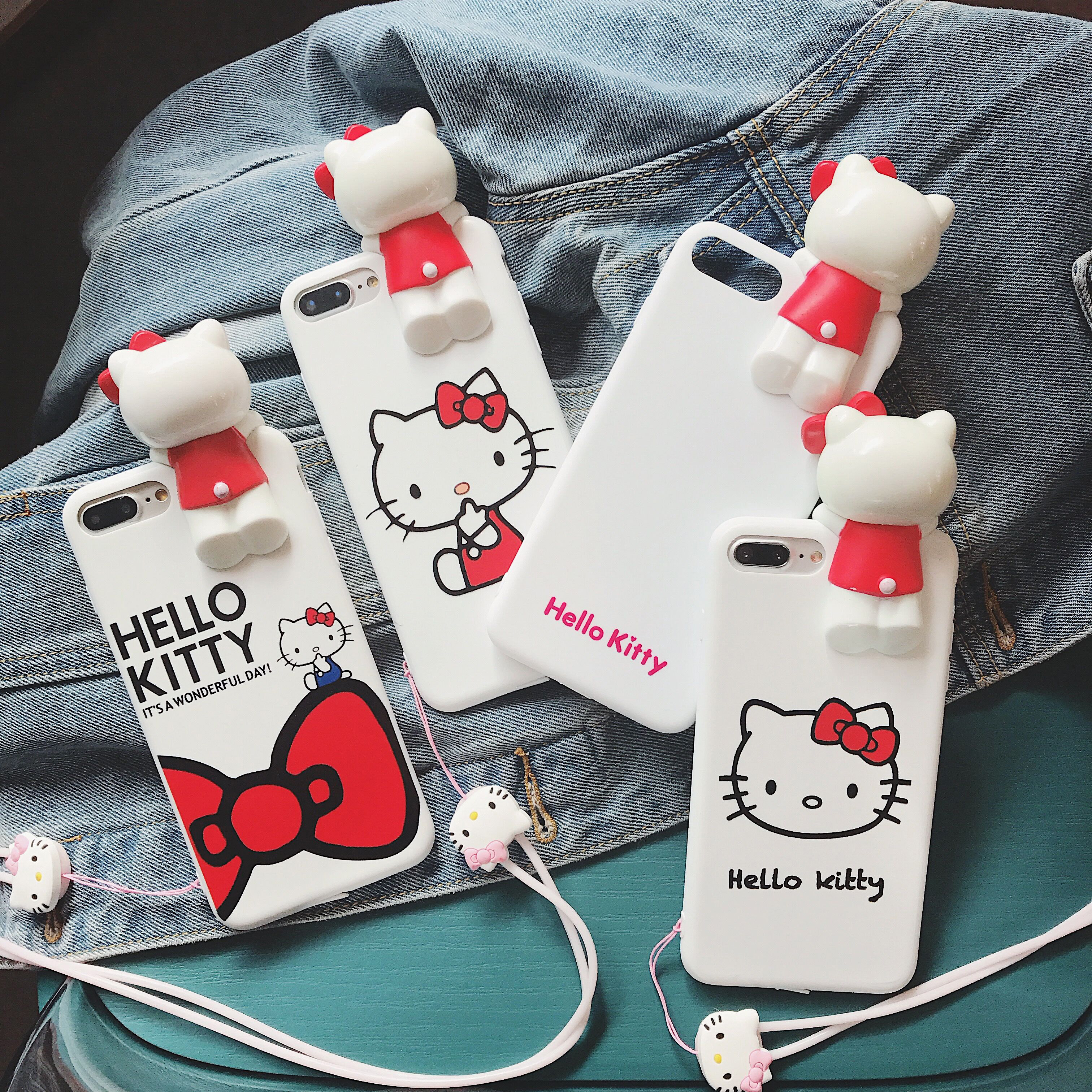 For iPhone 8 8plus Cute 3D KT phone Cases For iphone X 6 6s 6Splus 7 7Plus Cartoon Hello Kitty Soft case back cover with Strap
