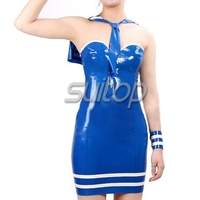 blue color rubber casual dress schoolgirl cosplay school girls uniforms army girl