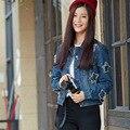 Хан Годун ворота 2016 весной новая мода джинсы куртка женская с длинными рукавами звезда шаблон джинсовой рубашка