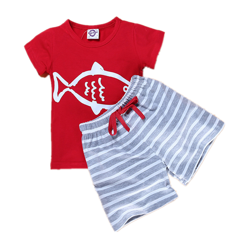 2017 Summer Baby Boys Clothing Sets Short Sleeve Navy Sailor Print T shirt+Stripe Pant 2Pcs Fashion Sports Kids Boy clothes set