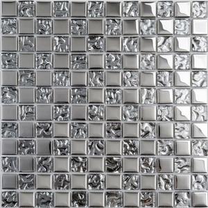 Хрустальная Серебристая стеклянная мозаичная плитка для ванной комнаты, плитка для душа с квадратным рисунком, синяя кухонная плитка для д...