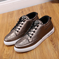 Hot ! New Fashion High Top Casual Shoes For Men Pu Leather Lace Up Black Gold Color Men Casual Shoes Men High Top Shoes Retail