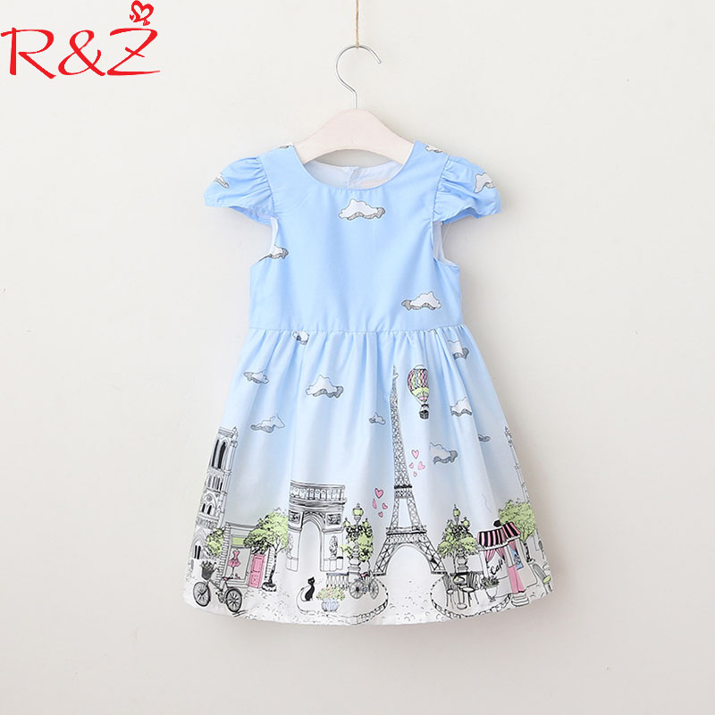 R&Z Baby Girls Dresses 2018 New Summer Cotton O-neck Graffiti Drawing Cute Cartoon Print City Dress for Kids Children's Clothing riggs r hollow city