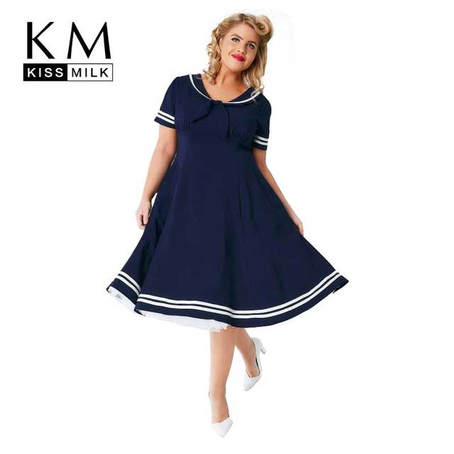 e4c50ac4d04 Kissmilk Plus Size Women Solid Dress New Preppy Style Navy Blue Sailor  Collar With Bow Front Dress A-Line Knee-Length Dress